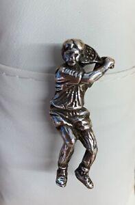 Silver pin tennis player