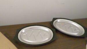 Set of 2 Nordic Ware #20810 Steak Fajita Sizzle Plates Holders Platters w/box