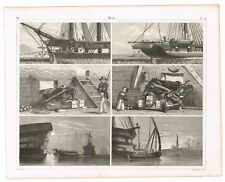 ANTIQUE PRINT VINTAGE 1851 ENGRAVING NAUTICAL SAILING SHIPS SCENE FRENCH FRIGATE
