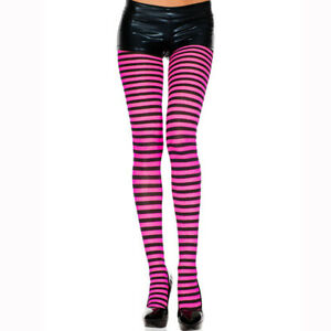 One Size Regular Opaque Striped Pantyhose Tights Lingerie ML7471