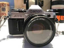 Canon At-1 Film Camera With Two Straps And A Brand New Canon Patch