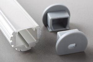 Eloxierte 1 Meter LED Aluminium Profile GLL-06  +  Abdeckung + Endkappe