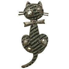 NEW KIRKS FOLLY SITTING PRETTY KITTY CAT PIN HEMATITE/BLACK MAGIC
