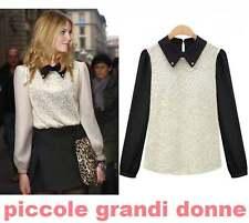 maglia maglietta top elegante donna manica a palloncino ricamato floreale C1663