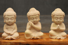 NX011ca - 7 CM High Carved Boxwood Carving - Set of 3 Little Rulai Buddha