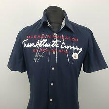 Gaastra Mens Shirt LARGE Short Sleeve Blue Regular Fit Yachting Cotton
