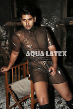 Men Rubber Latex Catsuit with Elastic Waistband with High Neck Short Sleeve Suit