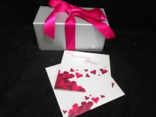 Swarovski Gem Jewelry Gift Keepsake Box w/ Card Love Romance Hearts Silver Pink
