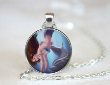 Mermaid with a Dolphin Tibetan silver Dome Glass Art Chain Pendant Necklace