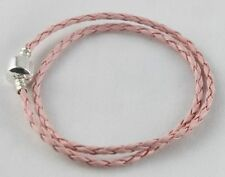Silver/Pink Double leather Bracelet Fit Bead Charm