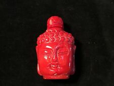 "Antique Chinese snuff bottle carved red coral Buddha head 2.75"" Qing 19thC"