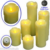 6pc LED Flameless Candles Flickering Effect Real Wax Drip 2'-9' Battery included