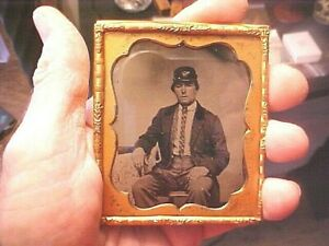 1/6 Plate Tintype Photograph of Civil War Infantry Soldier w/Kepi, TAX Stamp etc