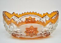 VINTAGE CUT CRYSTAL GLASS CLEAR AMBER FROSTED OVAL BOWL
