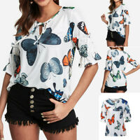 Fashion Women O-Neck Lace Up Butterfly Print Flare Sleeve Tops Blouse T Shirt