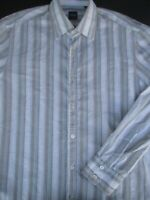 Hugo Boss Mens Button Front Long Sleeve White Multi Cotton Stripe Shirt Large L