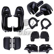 Black Lower Vented Leg Fairings Glove Box For Harley Road King Touring FLHR FLHT
