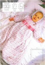Babies' Christening Gown and Bonnet Vintage Knitting Pattern Instructions