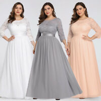 US Ever-Pretty Plus Size Floral Lace Bridesmaid Dresses Long Evening Party Gowns