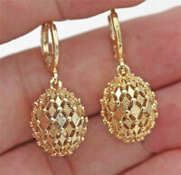 18K Gold Plated Earrings Rhombus Hollow Sphere Dangle Elegant Women Stud Hoop