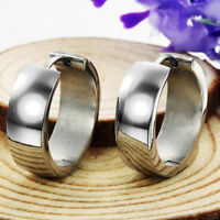 Smooth Silver Surgical Stainless Steel Hoop Huggie Lever back Earrings Gift
