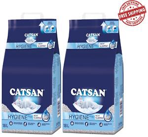 CATSAN Hygiene Plus Cat Litter Highly Absorbent Odour Control 36 Litre (2x18L)