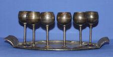 Lenk Austria Set 6 Vintage Silver Plated Goblets & Tray