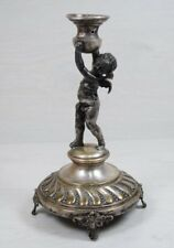 Vintage Collectible Cherub Bronze Silver Plated Candle Stick Holder Statue Deco