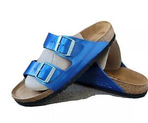Birkenstock Arizona Metallic Ocean Blue Sandals, 9 40N