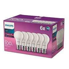 Philips LED B22 Bayonet Cap Light Bulbs, Frosted, 13 W 100 W - Warm White, Pac