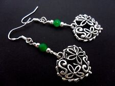 A PAIR TIBETAN SILVER HEART & GREEN JADE  EARRINGS WITH 925 SOLID SILVER HOOKS.