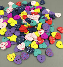 Multicolor 100PCs Wood Buttons Sewing Scrapbooking dots heart shape 2 Holes 14mm