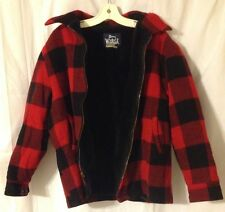Vintage Woolrich Red Buffalo Plaid XL Full Zip Hunting Jacket With Fleece Liner