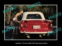 OLD POSTCARD SIZE PHOTO OF 1967 AMPHICAR 770 CONVERTIBLES LAUNCH PRESS PHOTO