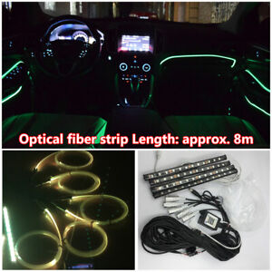 10pcs RGB LED Bluetooth Car Interior Dash Door Light w/ 8M Glass Fiber Strip