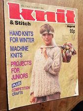 VINTAGE KNITTING PATTERN MAGAZINE KNIT & STITCH 1985 WINTER HAND MACHINE KNITS