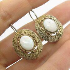 Vtg 925 Sterling Silver Gold Plated Real Opal Gemstone Handmade Earrings