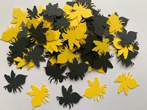 100 Rare Bumble Bee yellow black CARD Table Confetti party Manchester Insect