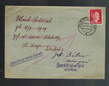 1942 Bilin BM Germany Cover to Dachau Concentration Camp KZ Ulrich Sedlacek RTS