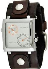 Silver/Orange Dual Time SQ with Dark Brown Leather Cuff Band DBB220S