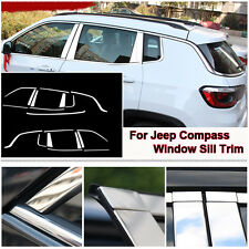 Full Window Middle Pillar Molding Sill Trim Stainless Steel For Jeep Compass 17