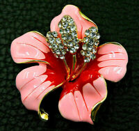 ORCHID Flower Lotus RED PINK Rhinestone Retro Vintage Necklace Pendant Brooch