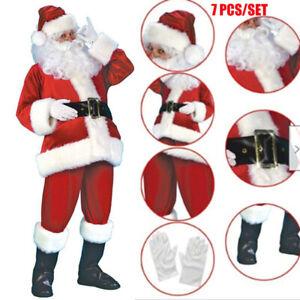 Santa Claus Costume Father Outfit Christmas Flannel Suit Mens Adult Fancy Dress