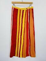 Vintage 90s Wrap Maxi Wrap Skirt Boho Festival Rayon Viscose Size 14 Fit 10