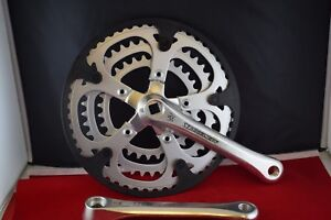 STRONGLIGHT triple crankset vintage 52/42/32 teeth 170mm square silver alloy NOS
