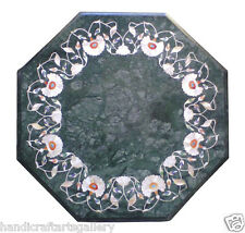 "24"" Green Marble Coffee Center Table Top Mosaic Gemstone Inlaid Home Decor H2022"