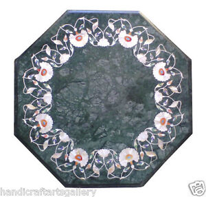 """24"""" Green Marble Coffee Center Table Top Gemstone Floral Inlaid Home Decor H2022"""