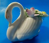 Vintage Royal Doulton White Porcelain Swan Flower Bouquet Bone China England