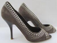 Faith size 7 (40) grey suede high heel peep toe court shoes