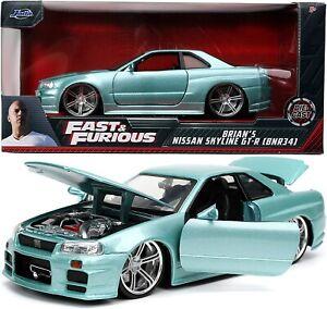 JADA Fast And Furious Brian's Nissan Skyline GT-R (BNR34) 1:24 Diecast Car
